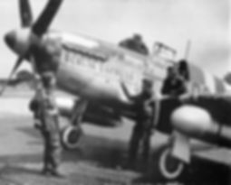 "Bill Overstreet with P-51C ""Berlin Express"" During the War"