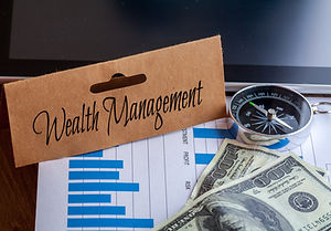 Wealth Management Words on tag with doll