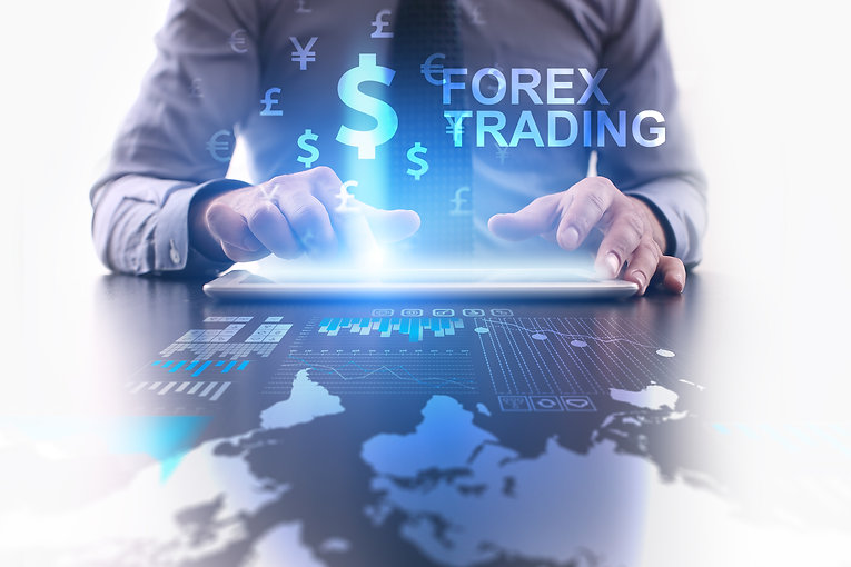 Forex trading concept. Businessman using