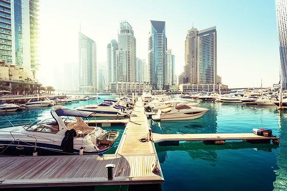 Dubai Marina at sunset, United Arab Emir