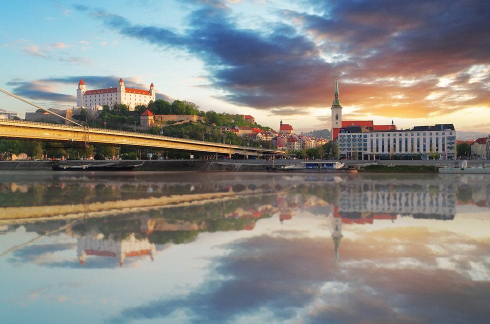 Bratislava embakment at sunrise - Slovak