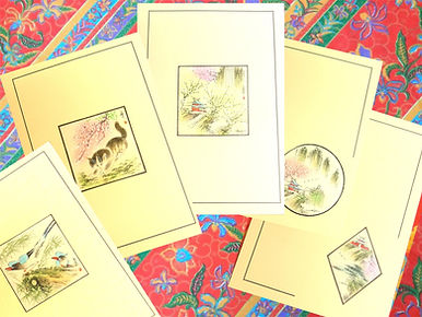 Cards with Chinese Hand-painted and Crafted (Each one is unique)  中式手繪工藝咭(每張獨一繪製)