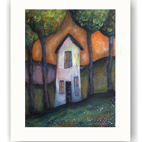 Tall Cottage and Trees