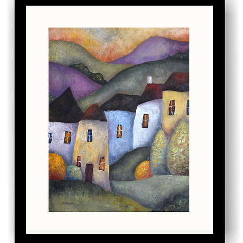 Hilly Landscape & Five Houses
