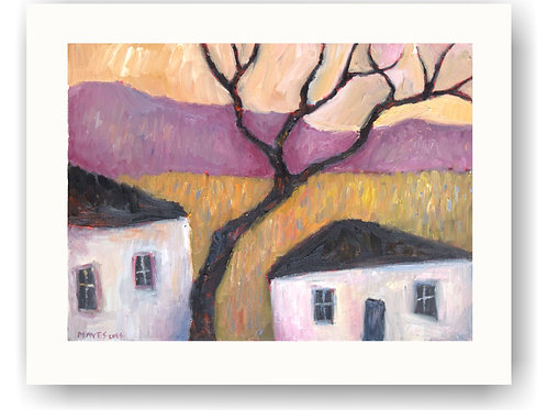 Winter Tree and Two Cottages