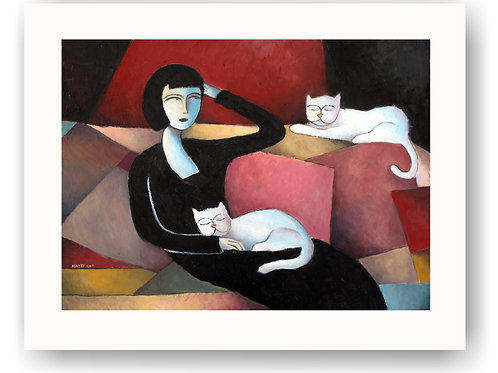 Woman and White Cats