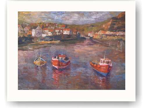 Three Boats on Staithes Beach