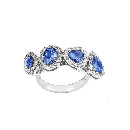 Anello Elite Zaffiri Blu multitaglio e Diamanti