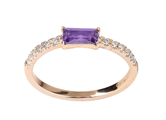 Amethyst and Diamonds Smile Ring