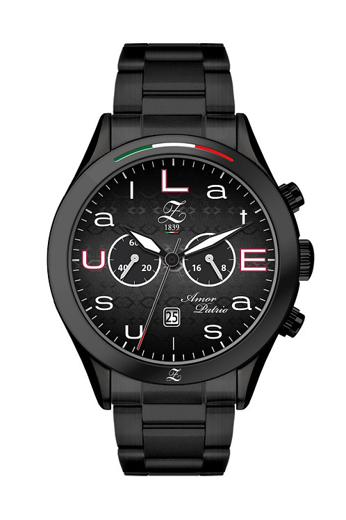 "Cronografo ""LatE as Usual"" 44mm Nero Opacizzato"