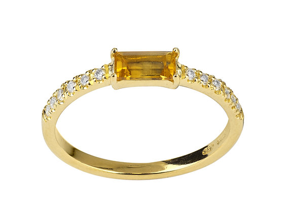 Citrine and Diamonds Empire Ring