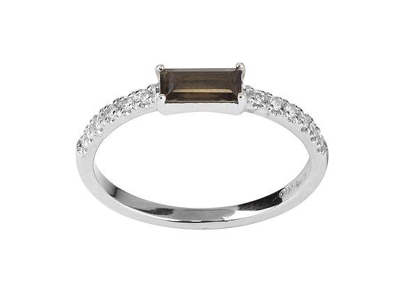 Quartz and Diamonds Smile Ring