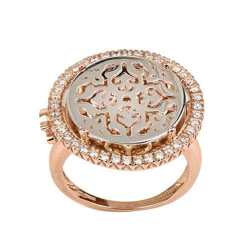 Anello Damasco con Oro Bianco e Diamanti