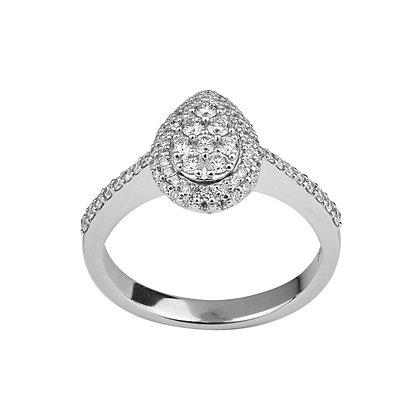 Anello Eterno Solitario Goccia con Diamanti