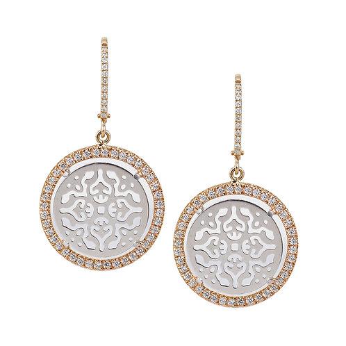 Orecchini Damasco con Oro Bianco e Diamanti