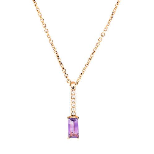 Collana Smile Ametista Viola e Diamanti
