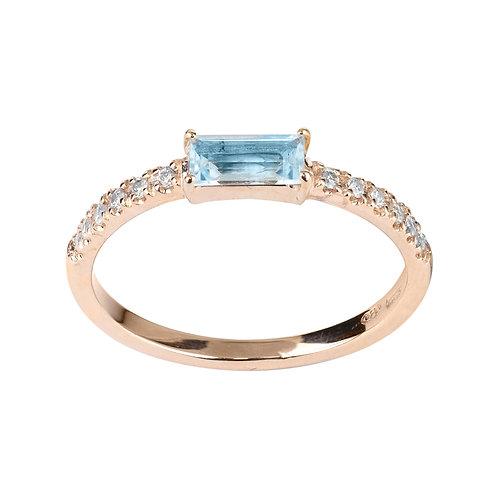 Anello Smile Fedina Topazio Azzurro e Diamanti