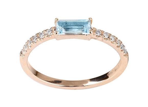 Topaz and Diamonds Smile Ring