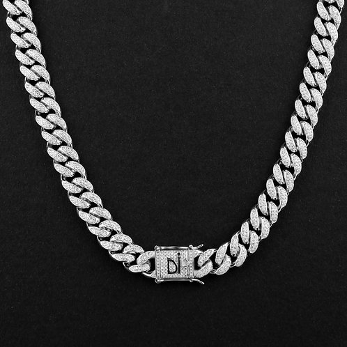 Collana Cuban Iced Out Bianco 12mm
