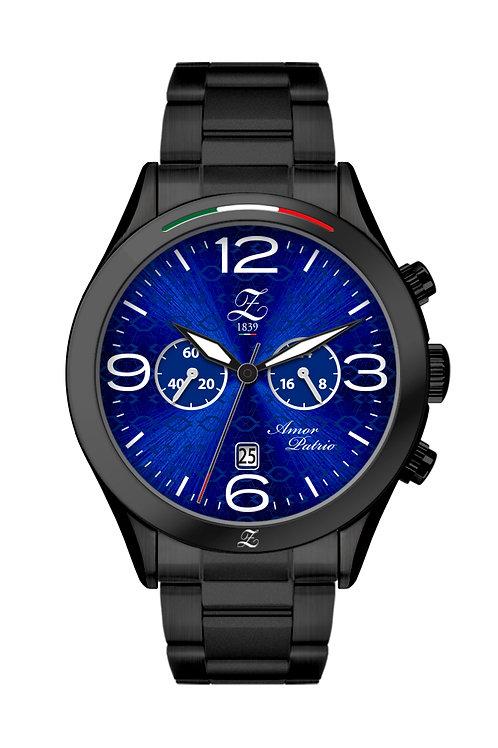 Cronografo Blu Glaciale 44mm Nero Opacizzato