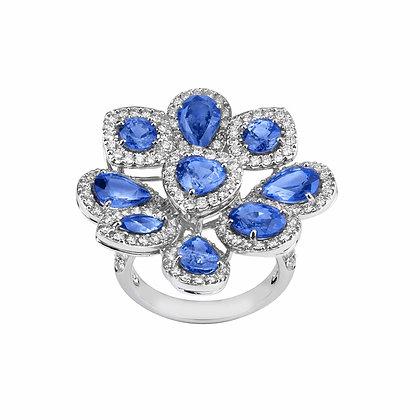 Anello Elite Zaffiri Blu taglio Goccia e Diamanti