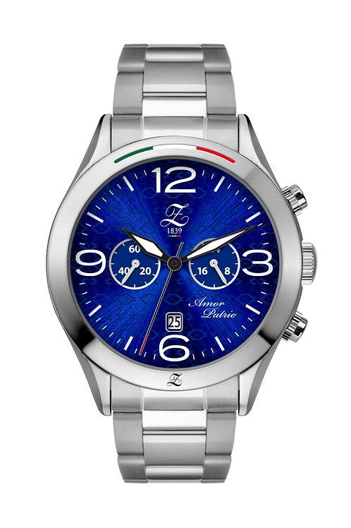Cronografo Blu Glaciale 44mm Acciaio Lucido