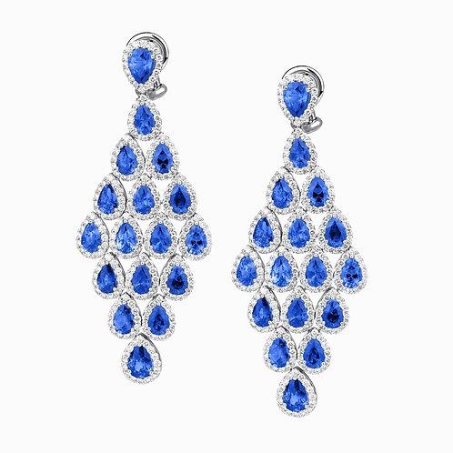 Orecchini Elite Zaffiri Blu taglio Goccia e Diamanti