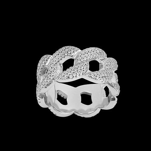 Anello Cuban Iced Out Bianco