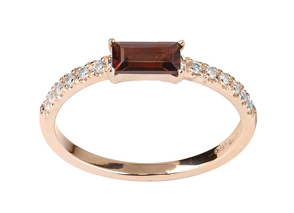 Garnet and Diamonds Smile Ring