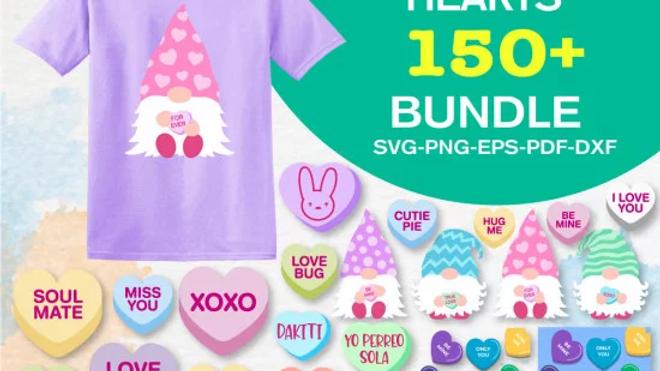 150+ Conversation Hearts SVG Bundle