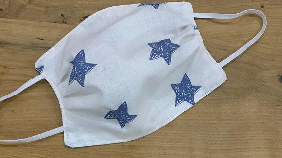 Mund Maske weiß mit blauen Sternen (Beidseitig)