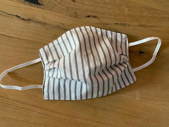 Mund Maske Weiß/Braune Streifen (Beidseitig)