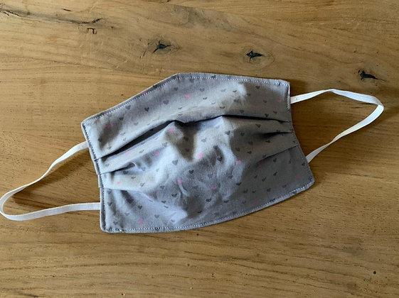 Mund Maske grau/ mit lila schwarze Herzen (Beidseitig)