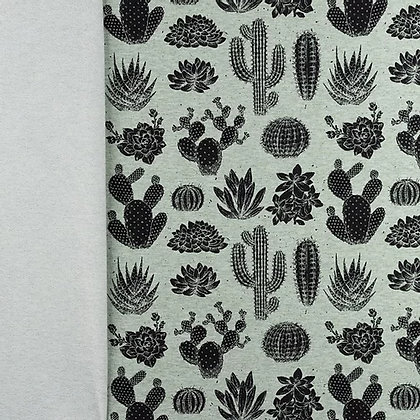 French Terry Meliert Bedruckt Kaktus Alt Grün ab 0,5m