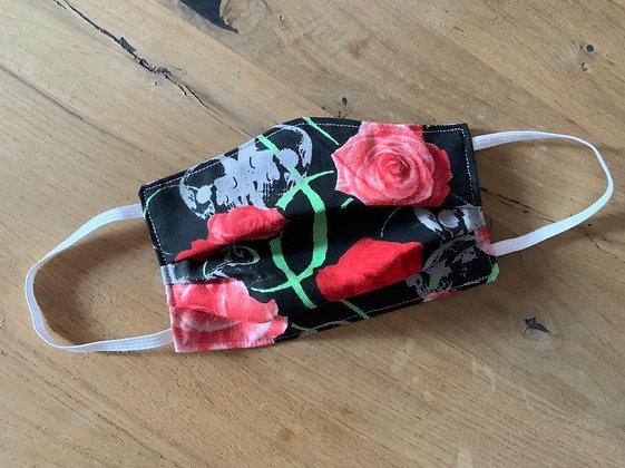 Mund Maske Totenkopf/Rosen Style (Beidseitig)