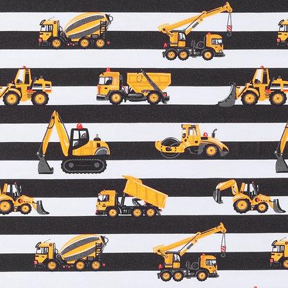 Jersey Bedruckt Baustelle Streifen Dunkel Braun ab 0,5m