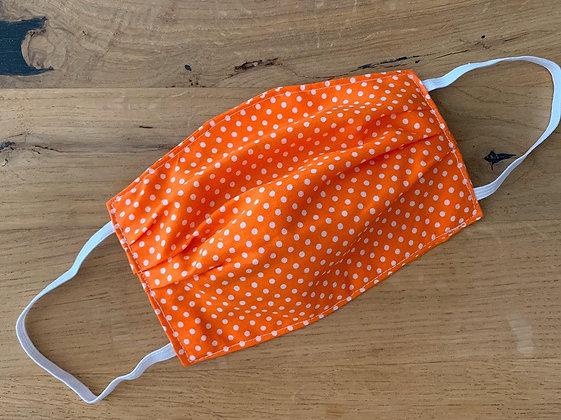 Mund Maske Orange mit Weißen Punkten (Beidseitig)