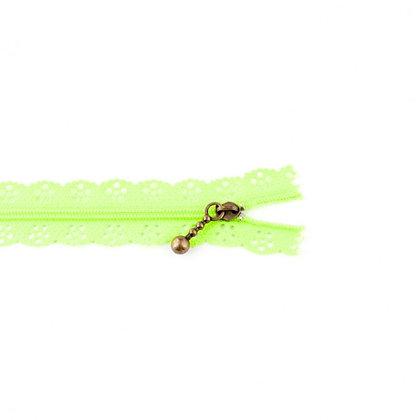 Reißverschluss Blume Gestanzt Neon Grün