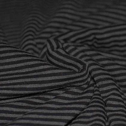 Baumwolljersey Streifen 3mm Grau Meliert Schwarz ab 0,5m