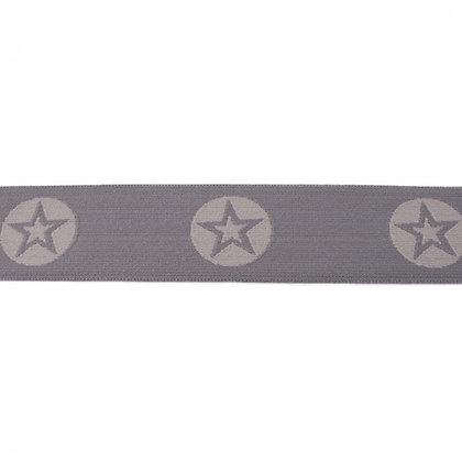 Gummi Mit Gewebte Stern Rund Zweifarbig 40 mm Dunkel Grau-Hell Grau 0,5m