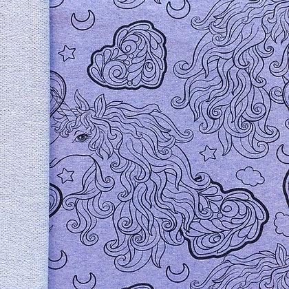French Terry Meliert Bedruckt Einhorn Old Violet ab 0,5m