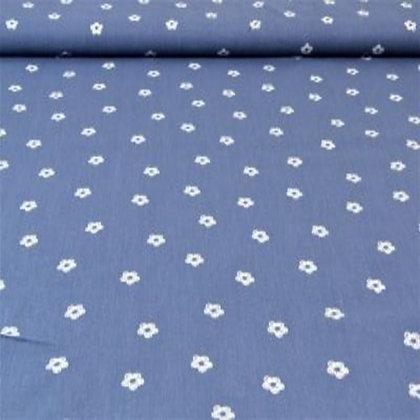 Baumwolle Blau mit Blüten ab 0,5m
