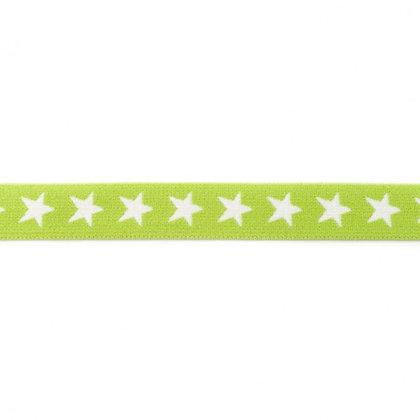 Gummi Mit Gewebte Stern 20 mm Lime 0,5m