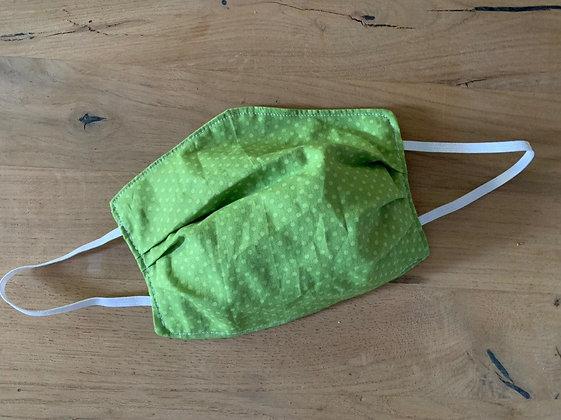 Mund Maske grün/weiße Punkte (Beidseitig)