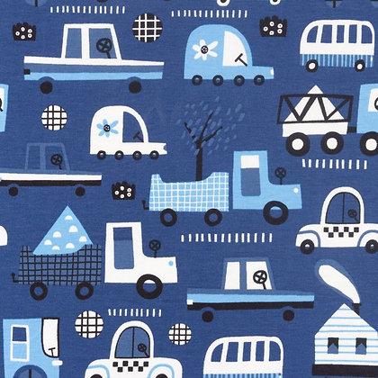 Jersey Bedruckt Transport Blau ab 0,5m