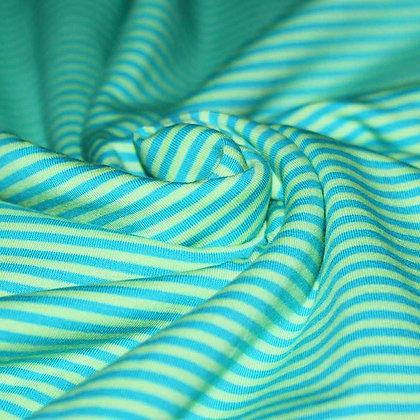 Baumwolljersey Streifen 3mm Aqua Lime ab 0,5m