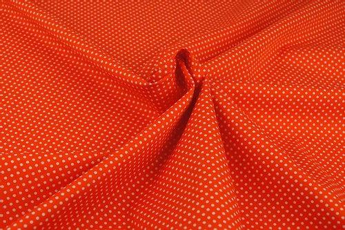 Baumwolle Orange Weiße Punkte ab 0,5m