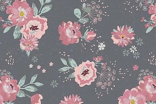 French Terry - Sommersweat Blüten mit Streublumen - Dunkelgrau Rosa Mint ab 0.5m