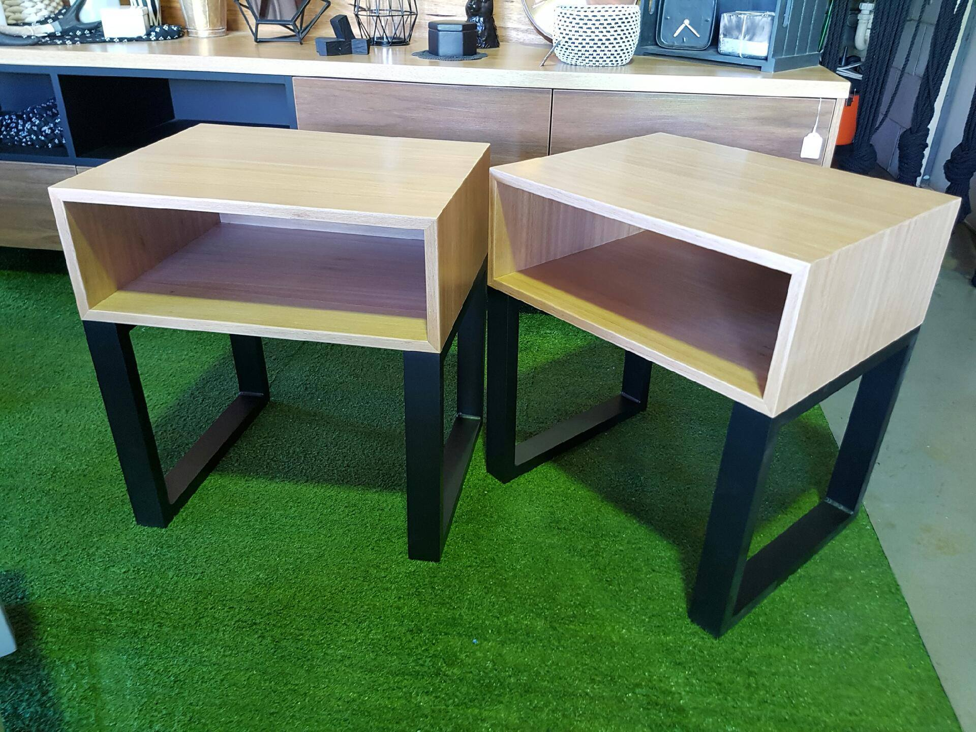 Black Butt Veneer Side Tables