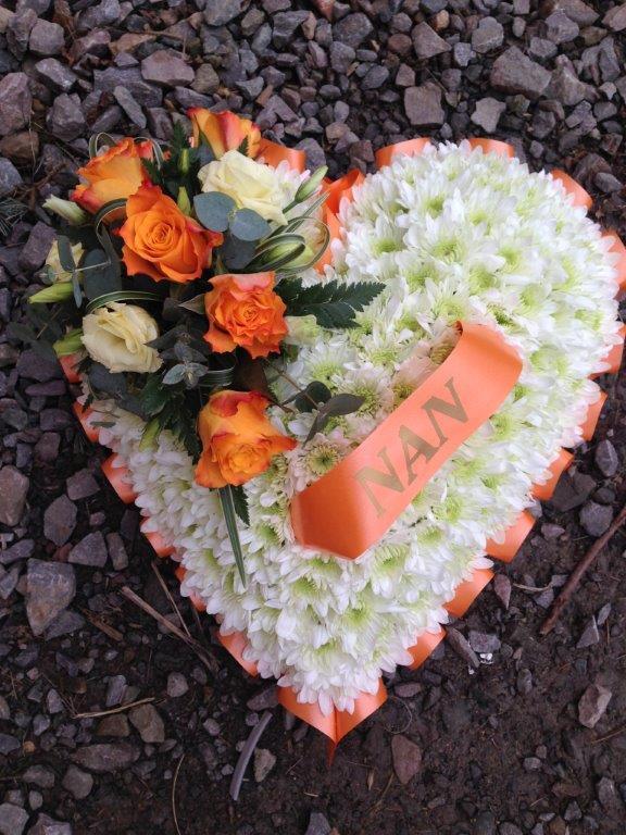 Based Heart - Orange Roses